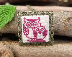 Owls cross stitch jewelry, Embroidered brooch, Embroidery owl pendant, Bird light maroon necklace, Mini stitch art, In love owls, Brooches