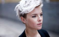 dyed hair, hair, pixie, pixie cut, white hair