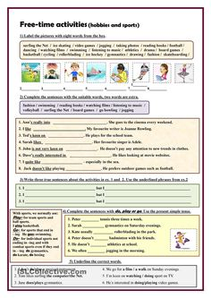 Free-time activities (hobbies and sports) exercises