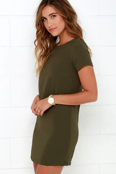 Shimmy, shuffle, and shake in the Shift and Shout Olive Green Shift Dress… Cute Dresses, Casual Dresses, Cute Outfits, Simple Dresses, Maxi Dresses, Party Dresses, Casual Outfits, Green Shift Dress, Olive Green Dresses