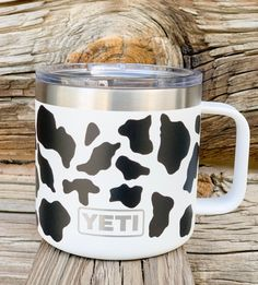 HOLY COW Coffee Cup – Patriot Jacks Outfitters Due to high demand allow business days for order to be shipped *spots on cup are decals Cow Kitchen Decor, Cow Decor, Cappuccino Tassen, Cow Mug, Yeti Cup, Cute Cows, Tumbler Cups, Cow Print, Mug Cup
