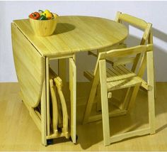 Simple Folding Dining Tables For Small Spaces Wooden Material Dining Set