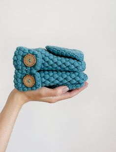 Convertible Wool Gloves Crochet Women Mittens In Blue by Mitreva