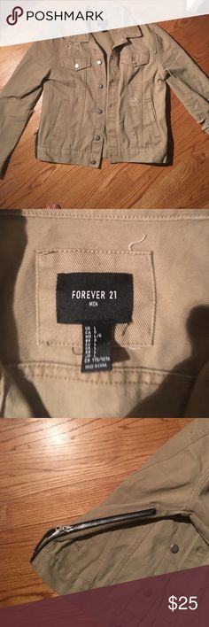 Forever 21 Men (Size: L) Tan Jacket Size: Large. Silver Zipper on sides. Small patch work for an edgier urban feel. Forever 21 Jackets & Coats Lightweight & Shirt Jackets