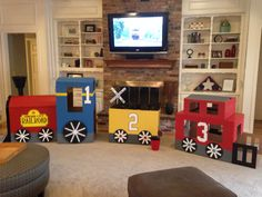 Cardboard train for 3 year old birthday party
