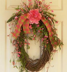 Spring Summer Hydrangea Grapevine Wreath, Pink Green Checked BurlapRibbon, Wild Flowers, Valentine's Gift Ideas, Mother's Day