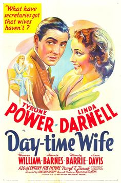 Tyrone Power and Linda Darnell star in Daytime Wife (1939). When a young wife discovers her husband of two years is involved with his beautiful secretary, she applies for a job as secretary to a business rival.