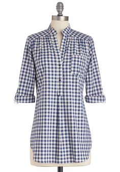 Bonfire Stories Top in Blue Gingham - Blue, White, Checkered / Gingham, Buttons, Casual, 3/4 Sleeve, Spring, Better, Variation, Blue, Tab Sl...