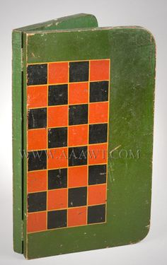Antique Folding Game Board, Checkers, Original Paint, closed view