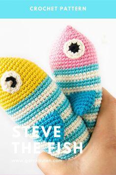 Crochet amigurumi fish pattern | Garnknuten | This cute and easy amigurumi fish is called Steve! Here you'll find the downloadable PDF crochet pattern! #crochet #pattern #amigurumi #fish #pouch Crochet Food, Crochet Hats, Organic Cotton Yarn, Fish Patterns, Crochet Hook Sizes, Crochet For Beginners, Crochet Patterns Amigurumi, Diy Toys, Stitch Markers
