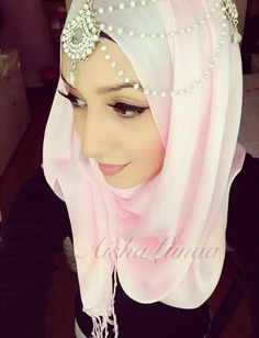 Cute pink Hijab with lovely headpiece
