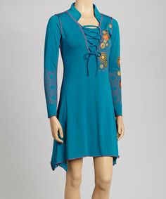Take a look at this Teal Lace-Tie Dress by Coline USA on #zulily today! $45 !!