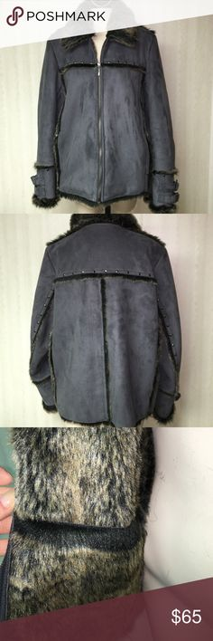 Faux fur jacket Never worn faux fur inside and faux suede on the outside. Deep gray size L. Beautiful and soft. Silver snap hardware in back. MONTANACO Jackets & Coats