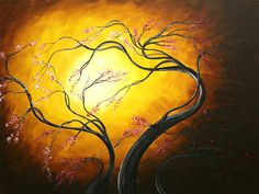 Abstract Tree Paintings | Abstract Art Tree Fire Blossoms By Madart Painting - Abstract Art Tree ...