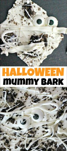 Are you looking for an easy Halloween treat to make with your kids or for a Halloween party? Look no further than this Mummy Oreo Bark. You only need 3 ingredients to make it and it takes just minutes to make. Easy Halloween Deserts, Halloween Bark, Halloween Treats To Make, Halloween Food For Party, Halloween Cupcakes, Halloween Baking, Mickey Halloween, Halloween Foods, Halloween Festival