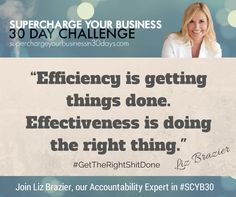 """""""Efficiency is getting things done. Effectiveness is doing the right thing."""""""