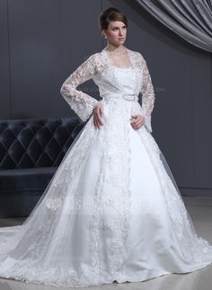 Wedding Dresses - $168.99 - Ball-Gown Strapless Cathedral Train Satin Tulle Wedding Dress With Lace (002012186) http://jjshouse.com/Ball-Gown-Strapless-Cathedral-Train-Satin-Tulle-Wedding-Dress-With-Lace-002012186-g12186?ves=wgc4sk&ver=ln6dy