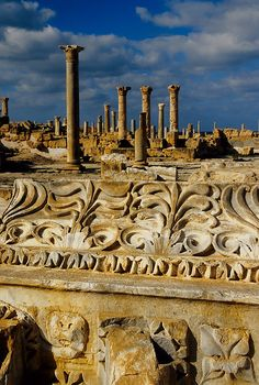 UNESCO World Heritage Site - Ruins of Sabratha, Libya.  Founded as a Phoenician trading-post, Sabratha was an outlet for the products of the African hinterland and part of short-lived Numidian Kingdom of Massinissa before being Romanized and rebuilt in the 2nd and 3rd centuries A.D.