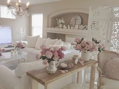 Romantic chic white classic country living room