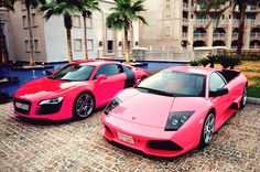 omg... these are the two cars i have dreamed of my whole life... but pink? hell no.