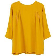 Mango Flowy Blouse , Medium Yellow