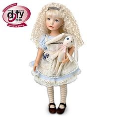 """Alice Child Doll Dianna Effner Poseable """"Alice In Wonderland"""" Alice Doll  Alice Child Doll Poseable vinyl Alice doll by Master Doll Artist Dianna Effner, inspired by the favorite story. With """"Drink Me"""" bottle, cloth rabbit. 2011 DOTY winner!"""