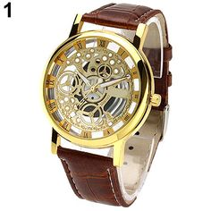 >> Click to Buy << 2015 New Men's Women's Roman Numerals Faux Leather Band Skeleton Analog Sports Dress Wrist Watch #Affiliate