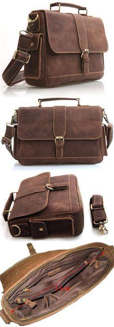"""Vintage Leather Briefcase / Leather Messenger Bag / Leather Satchel / 11""""…"""