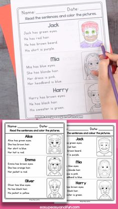 Read And Color Reading Comprehension Worksheets – Faces This set of read and color reading comprehension worksheets is great for late kindergarten and for Grade Grade 1 Reading, Phonics Reading, Reading Comprehension Worksheets, First Grade Writing, Reading Games, Comprehension Strategies, Reading Response, Preschool Learning Activities, Kindergarten Worksheets
