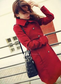 Delicate Double-Breasted Turndown Collar Long Sleeves Red Wool Blend Coat For Women (RED,M) China Wholesale - Sammydress.com