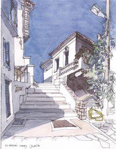 Kokkari, am blauen Haus, Samos, GR Sketch Painting, Watercolor Artwork, Watercolor Sketch, Watercolor Landscape, Travel Sketchbook, Art Sketchbook, Fabrice Moireau, Samos, Building Drawing