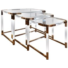 Set Of Lucite & Brass Nesting Tables | Charles Hollis Jones (I cussed in my head when I saw these)
