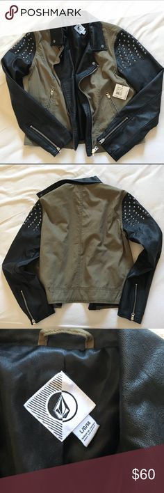 Volcom Pick Me Studded Shoulder Jacket New with tags! Volcom Pick Me Jacket. Faux leather sleeves with silver studs on the shoulders. Zipper detail at wrists and zipper front low pockets. Zips up front. Faux leather collar. Olive green. Size large. Volcom Jackets & Coats