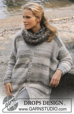 DROPS Cardigan in Silke-Tweed and Vivaldi Free pattern by DROPS Design.