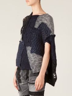 Junya Watanabe Comme Des Garçons Knitted Patchwork Sweater - - Farfetch.com Knitwear Fashion, Knit Fashion, How To Make Clothes, Diy Clothes, Textiles, Pullover Upcycling, Recycled Sweaters, Autumn Fashion Casual, Easy Knitting