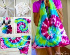 T-Shirt Tie Dye Bag Tutorial http://www.skiptomylou.org/2014/06/13/tie-dye-t-shirt-bag/