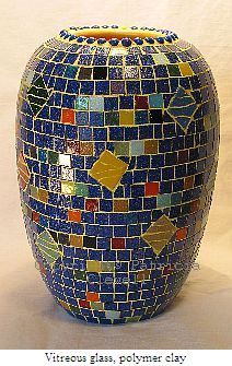 Patricia Clewell Mosaic Vase made of Vitreous glass, polymer clay