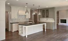 Fitzgerald Construction - kitchens - Benjamin Moore - Gettysburg Gray - Restoration Hardware Benson Pendants