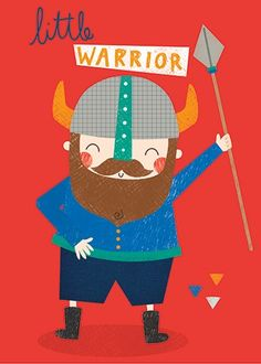 Damien & Lisa Barlow  Illustration - Damien, Lisa, Damien & Lisa, Barlow, digital, photoshop, board book, trade, mass market, greetings cards, gift wrap, stationary, fiction, picture book, surface pattern design, colourful, textured, illustrator, sweet, cute, young, fun,nordic, vikings, warrior, spear, helmet, horns , man, men, males, person, people, beard, friendly