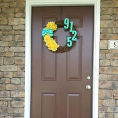House number wreath with number painted a contrasting color