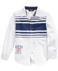 Guess Little Boys' Striped-Chest Button-Up Shirt