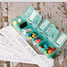 Great idea for Valentines. Take a pill box...fill each day with something sweet and a love note tucked in. Love love love. :)