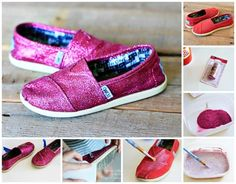 you can Use a decoupage medium and glitter to add some sparkle to an old pair of shoes. These glitter Toms make makeover a big difference! Lauren Conrad, Glitter Rosa, Pink Glitter, Cheap Toms Shoes, Fru Fru, Valentino Rockstud, Kinds Of Shoes, Pumps, Old Hollywood Glamour