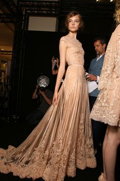 champagne-hued gown.