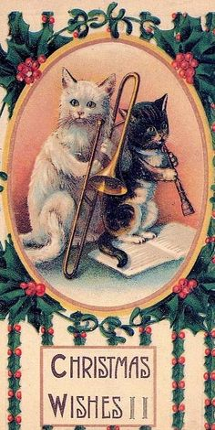 "Vintage ""Christmas Wishes"" Cats playing Instruments"