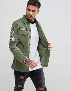 Shop Replay military badge shirt jacket at ASOS. Army Shirts, Boys Shirts, Replay, Shirt Jacket, Denim Shirt, Jacket Style, Shirt Style, Work Casual, Men Casual