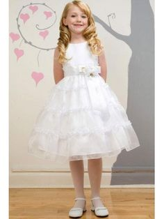 Satin Girls dresses and Flower on Pinterest