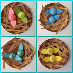 Celebrate spring with this adorable baby bird nest craft! - Clever, Crafty, Cookin MamaCome Celebrate spring with this adorable baby bird nest craft! Spring Theme, Spring Art, Easter Activities, Spring Activities, Indoor Activities, Kindergarten Art, Preschool Crafts, Bird Nest Craft, Bird Nests