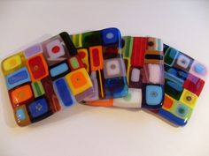 Glass coasters, with a modern colorful twist