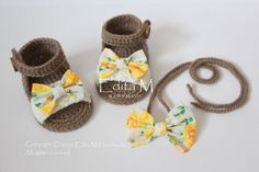 Crochet baby sandals and headband set, baby slippers, baby girl set, 0-3 months, handmade bows, brown, cream, yellow, green, gift idea